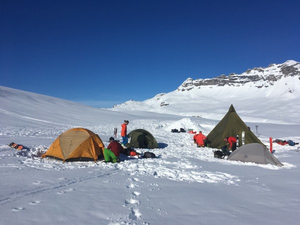 Backcountry basecamp touring adventure